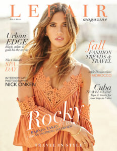 Rocky Barnes Interview orange dress Lefair Magazine Cover 2016