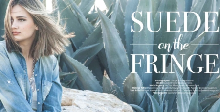 Suede Brooks on the Fringe denim model Lefair Magazine 2016